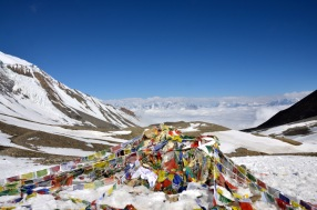 View from the top of the Throng La pass - highest point to the Annapurna Circuit at 5413m above sea level