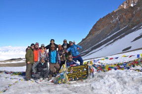Our trekking team, guides and porters at the top of the Throng La pass