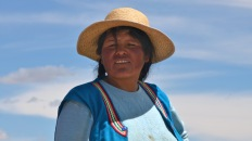 Local lady on the Uros Island, Lake Titicaca