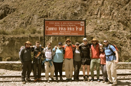 Start of the Inca Trail - still fresh and happy here before the 10 million steps my knees loved so much